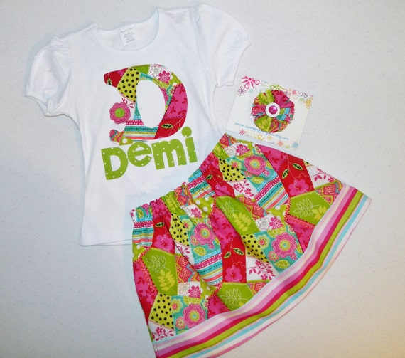 3 piece outfit - shirt with birthday number or initial applique with patchwork skirt and bow sizes NB - 16