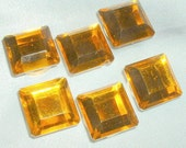 Vintage Button Covers Set of Six Amber Faceted