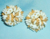 Vintage White and Gold Glass Bead Cluster Earrings