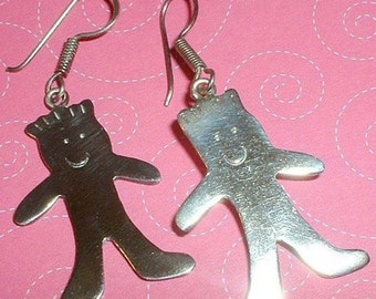 Vintage Sterling Silver Child Figural Earrings