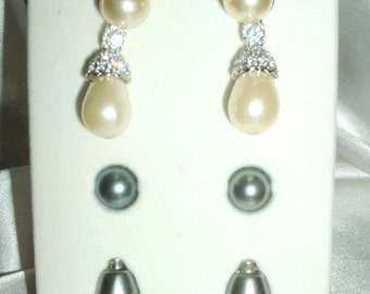Vintage Nolan Miller Faux Pearl and Pave Rhinestone Interchangeable Earring