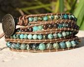 Leather wrap bracelet - African Turquoise & Bronzite