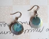 Short White & Blue Shell Earrings