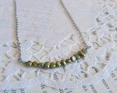Freshwater Pearls Pendant Necklace in Green. SALE 20% OFF