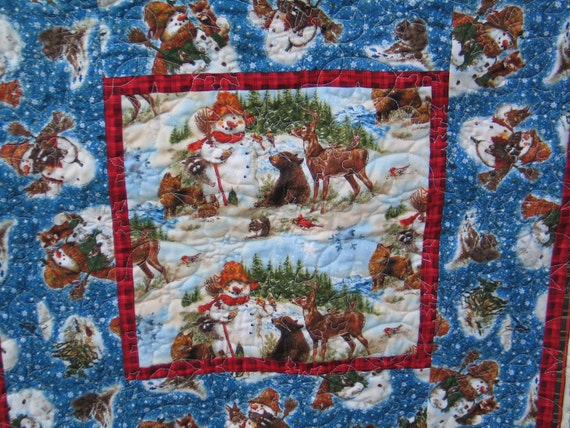 Snowman and Forest Friends Winter Quilt or Throw Blanket
