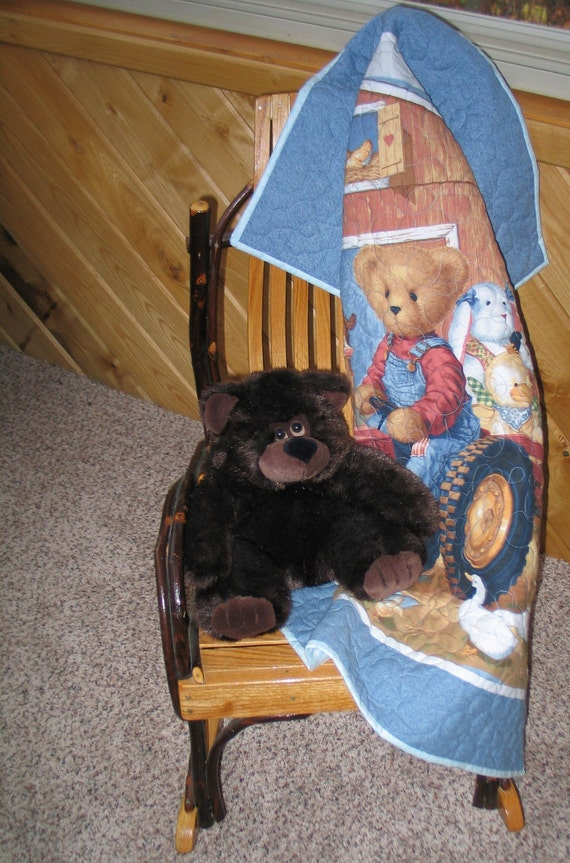 TEDDY BEAR TRACTOR Baby Quilt