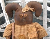 RAG DOLL Primtitive Folk Art Very Grungey Grubby Prim Upcycled Rabbit FAAP