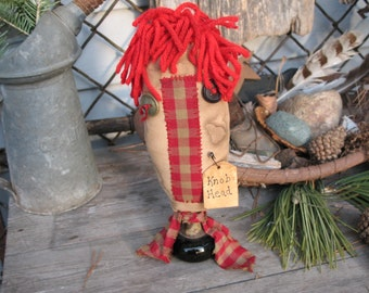 """Raggedy Face DOOR """"KNOB HEAD"""" Make-Do Funky Upcycled Vintage Door Knob Red Homespun Ornie"""
