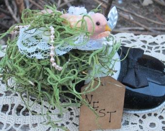BIRD NEST SPRING Pincushion Upcycled
