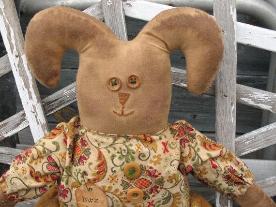 SALE-PRIMITIVE Folk Art  Mustard Rag Doll very Grungey Grubby Prim Rabbit-thebagglady76