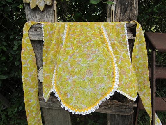 RESERVED FOR TAMMY Vintage Farmgirl Half Apron Handmade Golden Yellow