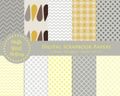 Digital Scrapbook Paper in Yellow and Gray Mixed Patterns - for invitations, blog design, photographers