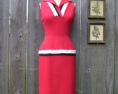 Vintage 40's RED HOT WIGGLE Frederick's Of Hollywood Filmland Creations Wiggle Dress
