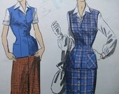Fabulous Vintage 40's Advance Misses Pattern BLOUSE, JERKIN, SKIRT