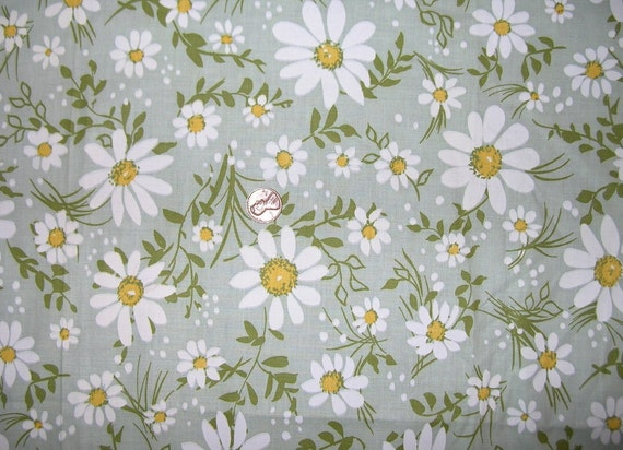 Vintage 50s Daisy Field Cotton Daisy Print Fabric