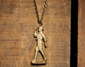 Mens Jewelry: Brass Boyscout pendant necklace made with bullet casings
