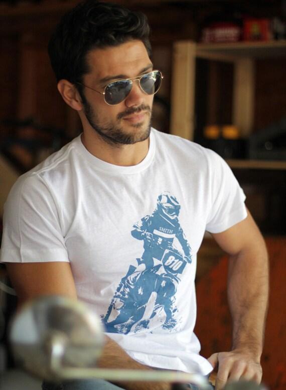 White Tee for men - Motocross inspired graphic tshirt print - SALE