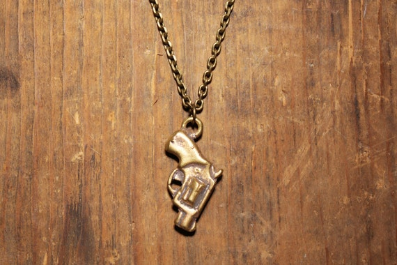 Mens Jewelry: Revolver Gun made of vintage brass bullets