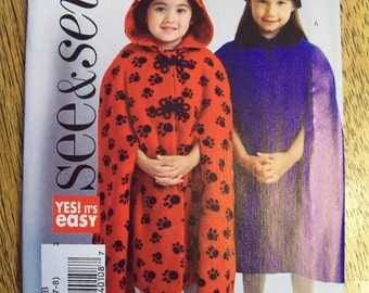 UNCUT Sewing Pattern - Girl's Cloak or Cape with Hood - Size 6 - 7 - 8 - See & Sew 4637