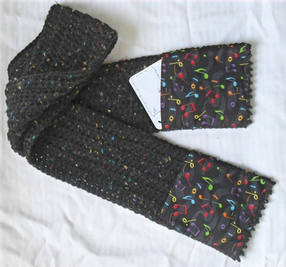Crochet Music Scarf: black-fleck-yarn colorful Notes with Pockets ...