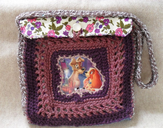 Recycled Lady & the Tramp Crochet Jean Pocket Purse (Free shipping within US)