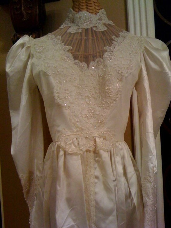 1960's off white satin wedding dress with sequin beaded and lace detail