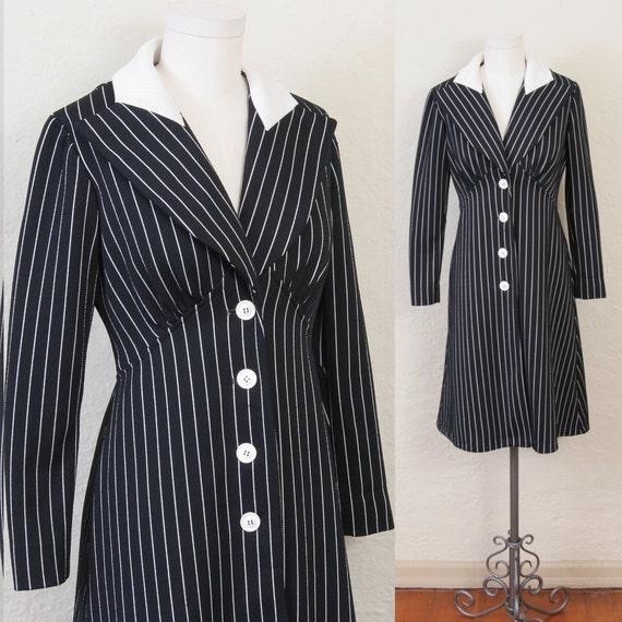 sale--1970's pinstriped dress in black and white