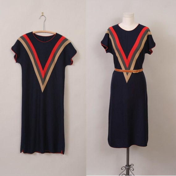 1970's dress in navy blue and chevron stripes