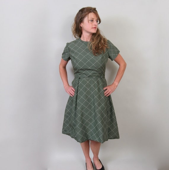 1950's day dress in sage