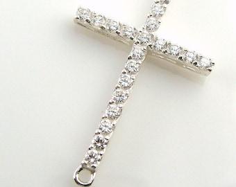 Sideways Cross -  2 Hole - Sterling Silver  with Diamond Cz's -