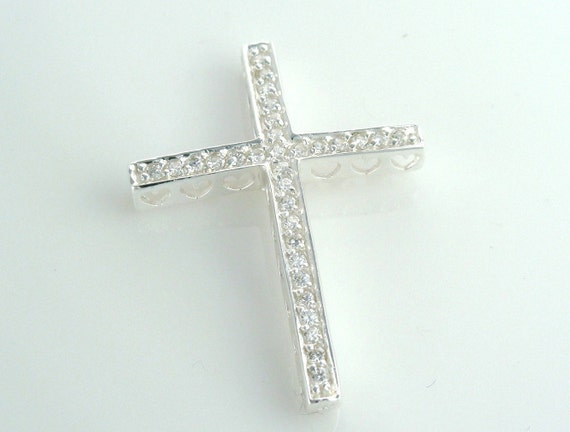 Sterling Silver Cross with clear CZ 's