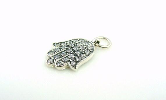 Hamsa Hand - Sterling Silver Oxidized with Diamond Cz's 2