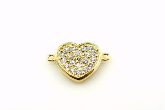 Heart Vermeil Gold with Clear Cz Pave 2 hole Connector Charm
