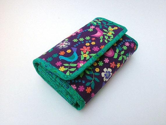 Spacious Purple Birdy Accordion Wallet