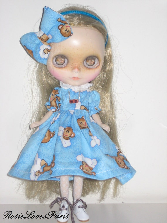 Blythe Cheeky Monkey Puffed Sleeve Dress / Petticoat & Fabric Hair Bow.   (BD20012)