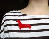 Red Dachshund Brooch