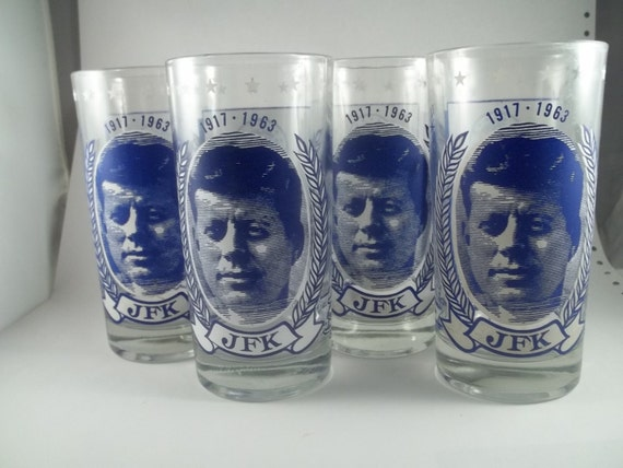 Four Vintage John F Kennedy Drinking Glasses