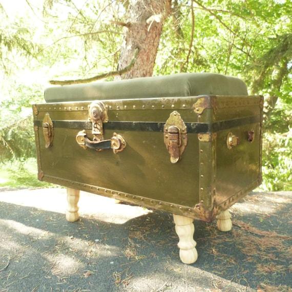 Upholstered Military Foot Locker Storage Bench