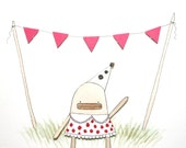 Original Watercolour Painting, Nursery Art, Original Illustration, Children, Birthday, Party, Poosac with Pink Spotty Dress and Bunting