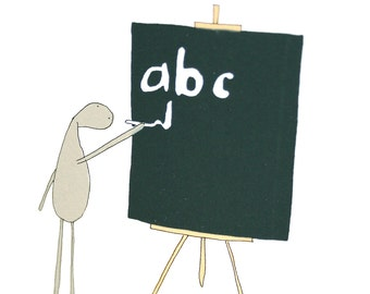 Back to School Card, Card for Teacher, Back to School Gift, Original Screen Printed Handmade Card, ABC Card, Poosac