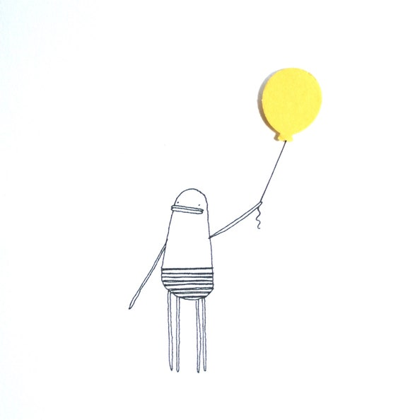 Greeting Card, Happy Birthday, Hand-Finished, Quirky Illustration of Poosac with Yellow Balloon Embellishment