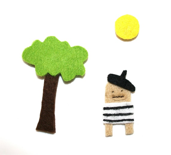 Magnet Set - Tree, Sun & Pierre the French Poosac