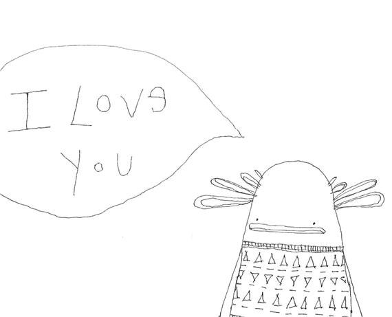 Original Ink Drawing, Illustration, Original Artwork, Nursery Art, Pen and Ink Drawing, I Love You