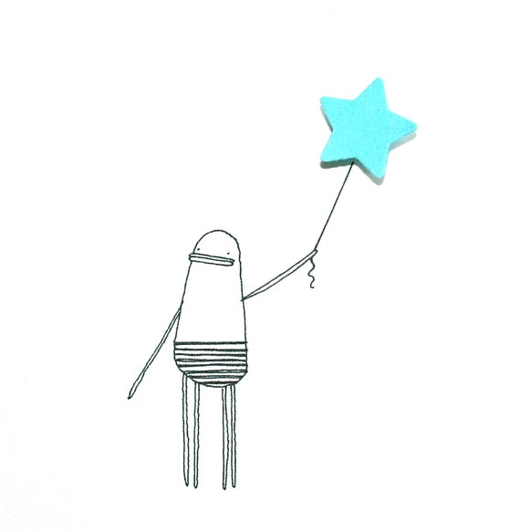 Greeting Card, Happy Birthday, Hand-Finished, Quirky Illustration of Poosac with Blue Star Balloon