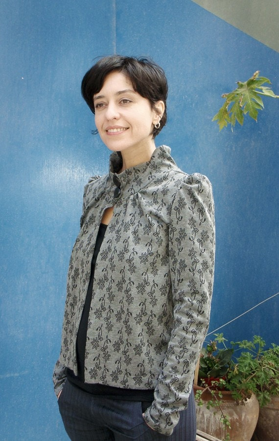 Floral Gray Jacket with Stand-up collar