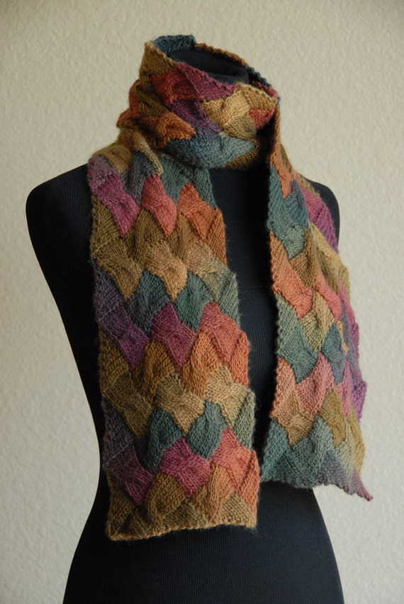 Knitting Pattern For Entrelac Shawl : Knit Scarf Entrelac Cable Autumn
