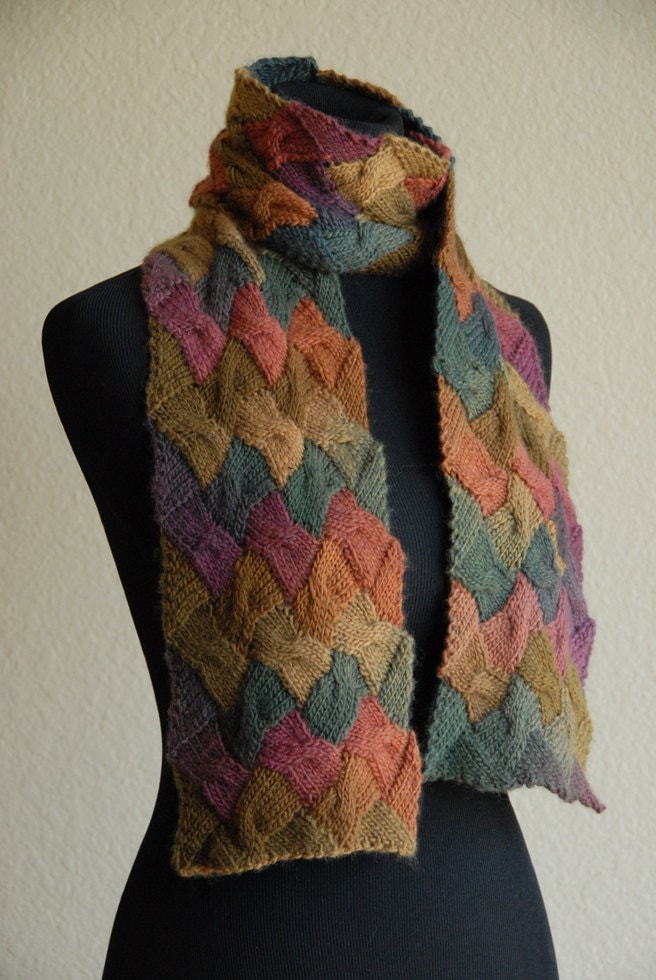 knit scarf entrelac cable autumn