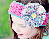 Girls Headband, Yo Yo Flower Head Wrap, Adjustable Headband