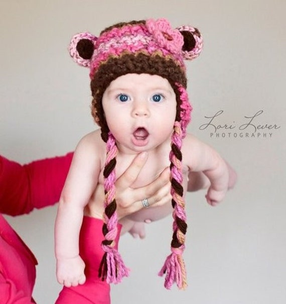 Girls Hat, SALE, Pink and Brown Bear Heat, Baby Girl, Toddler Girl