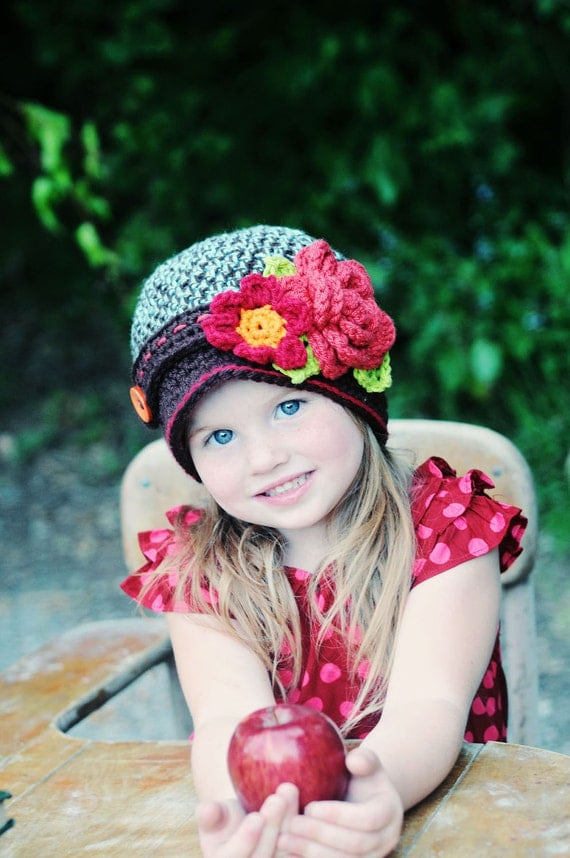 Toddler Girls Hat, Autumn Bouquet Fall Hat
